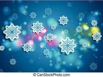 bleu, hiver, clair, fond, brillant, noël