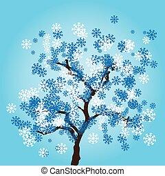 bleu, hiver, feuilles, arbre, arrière-plan., vecteur, flocons neige