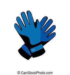 bleu, hiver, gants, activité, snowboarding, sport, ski, ou