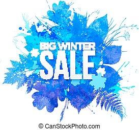bleu, hiver, grand, vente, aquarelle, feuillage, bannière