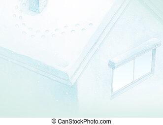 bleu, hiver, maison, conte, fond, fée, peinture