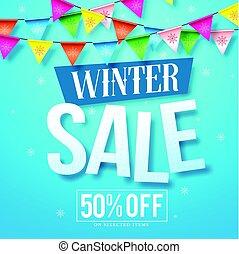 bleu, hiver, neige, vente, vecteur, conception, fond