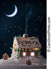 bleu, hiver, pain épice, versé, fumée, nuit, maison, dehors