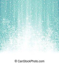 bleu, hiver, résumé, chute neige, fond, noël blanc
