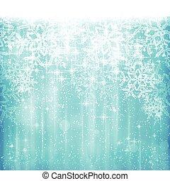 bleu, hiver, résumé, flocon de neige, fond, noël, blanc