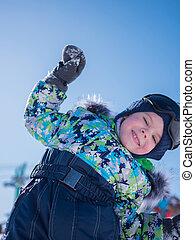 bleu, hiver, repos, petit, park., fond, enfant, bébé, sourire, games., actif, jouer