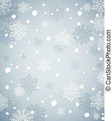 bleu, hiver, salutation, noël, snow., fond, vacances, bannière, ou, carte, flocons neige