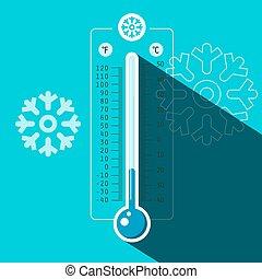 bleu, hiver, surgelé, symbole, vecteur, fond, thermomètre, froid, température
