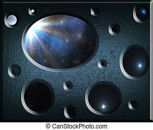 bleu, hole., résumé, étoiles, fond