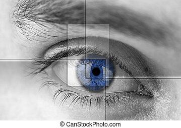 bleu, hologram., oeil, virtuel