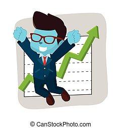 bleu, homme affaires, graphique, heureux