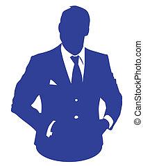bleu, homme affaires