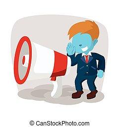 bleu, homme affaires, megaphone gigantesque