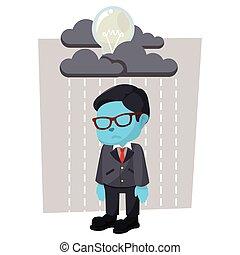 bleu, homme affaires, pleuvoir, ampoule