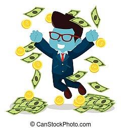 bleu, homme affaires, pleuvoir argent