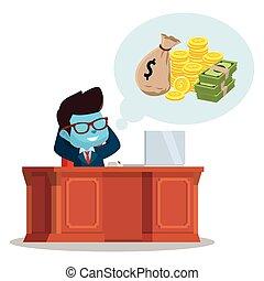 bleu, homme affaires, sur, pensée, argent