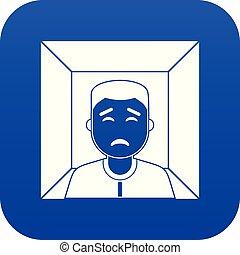 bleu, homme numérique, icône