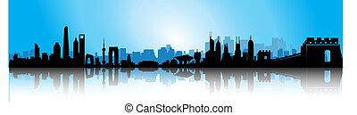 bleu, horizon, porcelaine, levers de soleil