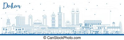bleu, horizon, sénégal, dakar, ville, contour, bâtiments.