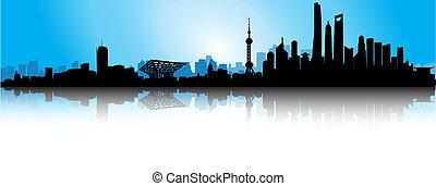 bleu, horizon, shanghai