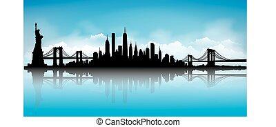 bleu, horizon ville, vecteur, york, nouveau