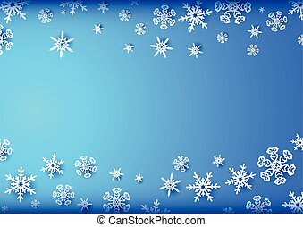 bleu, horizontal, cadre, flocons neige