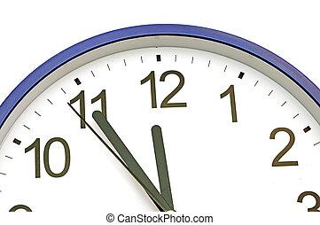 bleu, horloge, mur, minutes, cinq, douze