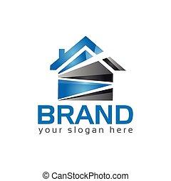 bleu, house., maison, résumé, -, illustration, vecteur, logo
