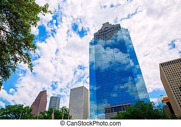 bleu, houston, gratte-ciel, ciel, horizon, texas