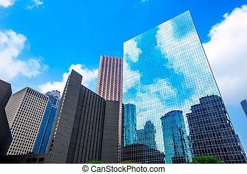 bleu, houston, gratte-ciel, district, ciel, en ville, miroir