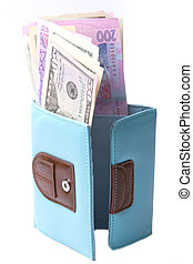 bleu, hryvnias, ukrainien, -, dollars, bourse, argent