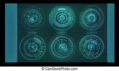 bleu, hud, graphique, têtes, haut, ou, animé, exposer, futuriste