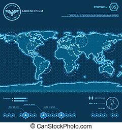 bleu, hud, polygone, carte, écran, mondiale