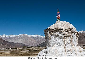 bleu, ibetan, ciel blanc, pagodes