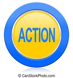bleu, icône, action, jaune