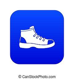 bleu, icône, chaussure, touriste, numérique
