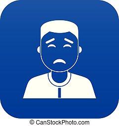 bleu, icône, homme asiatique, numérique