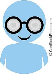 bleu, icône, homme, lunettes