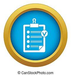 bleu, icône, liste, isolé, chèque