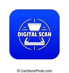 bleu, icône, numérique, balayage
