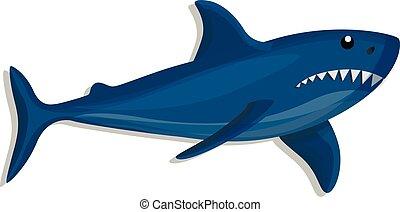 bleu, icône, requin, style, dessin animé