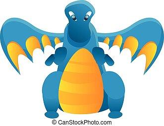 bleu, icône, style, dessin animé, dragon