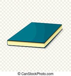 bleu, icône, style, livre, dessin animé