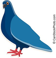 bleu, icône, style, pigeon, dessin animé