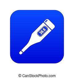 bleu, icône, thermomètre numérique