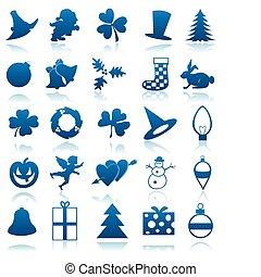 bleu, icônes, colour., illustration, fetes, sombre, thème, vecteur