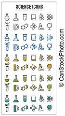 bleu, icônes, couleur, science, jaune, vecteur, arrière-plan noir, blanc vert