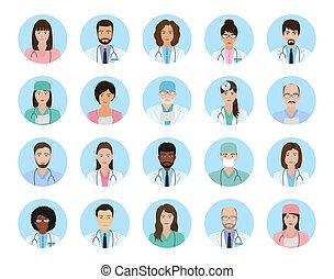 bleu, icônes, infirmières, set., gens, avatars, arrière-plan., caractères, médecins, monde médical, faces