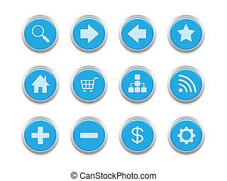 bleu, icônes internet