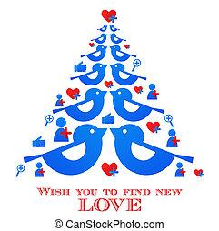 bleu, icônes, média, arbre, christmas;, voeux, social, oiseau